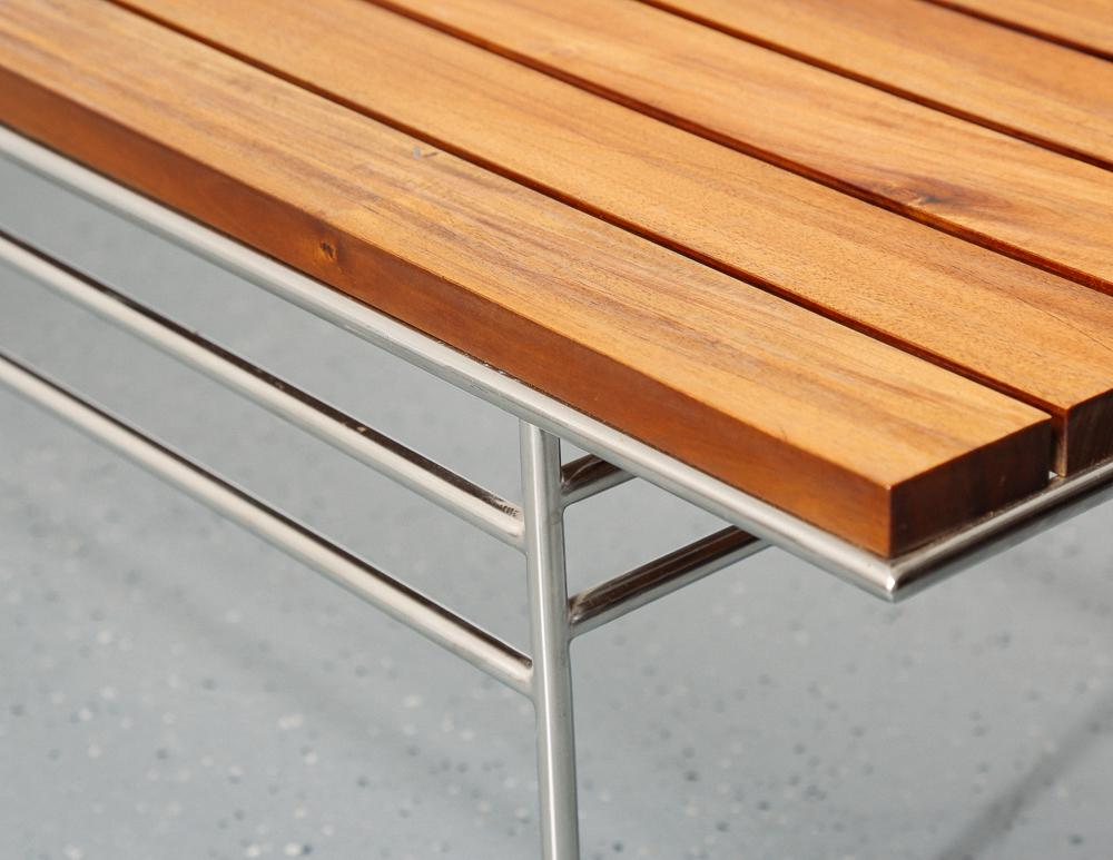 Beau Outstanding Quality Mid Century Danish Modern Decor Solid Oiled Wood Slat  Bench. Solid Stainless Steel