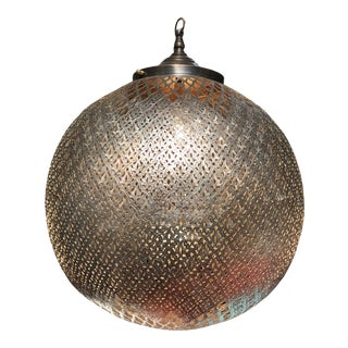 "Contemporary 17"" Bronze Metal Hand Cut Filigree Ball Pendant Light Marrakech Morocco For Sale"