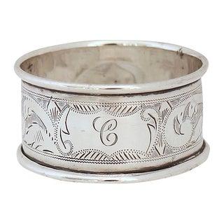 """Vintage English Sterling Sliver """"C"""" Napkin Ring For Sale"""
