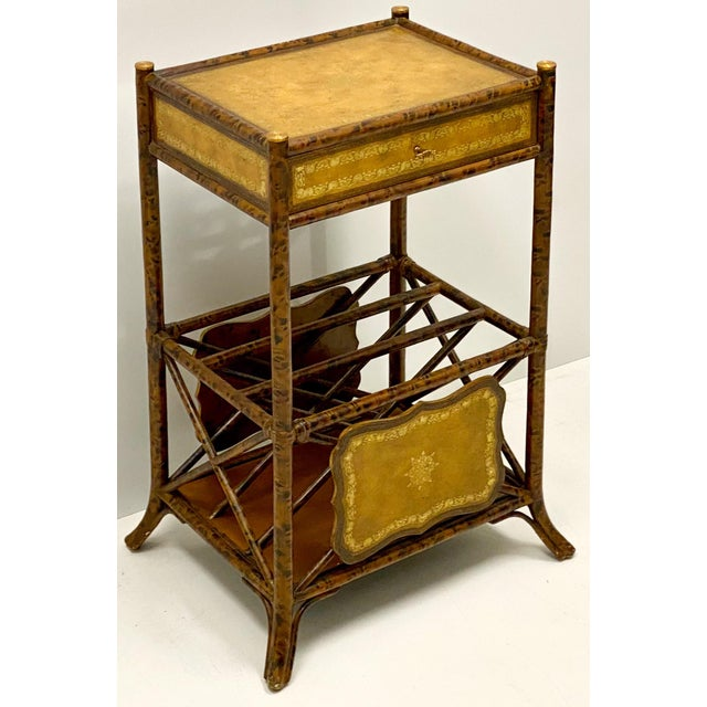 1980s Maitland-Smith Faux Tortoise Bamboo & Leather Side Table For Sale - Image 5 of 5