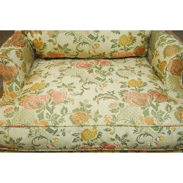 George II Style Brocade Wingback Chairs - A Pair - Image 7 of 9