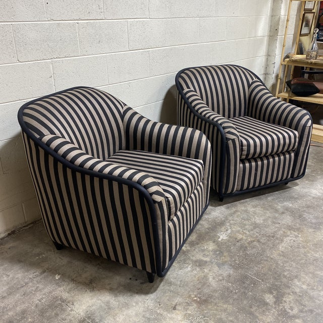 """Hollywood Regency """"Fendi"""" Striped Club Chair's - a Pair For Sale - Image 3 of 12"""