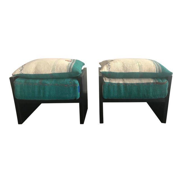Modern Custom Katha Quilt Pillows Stool Set- A Pair For Sale