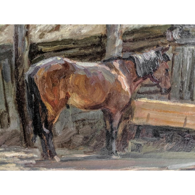 Oil painting on board, horse feeding, after Sir Alfred Munnings (British, 1878-1959), circa 1940. In excellent antique...