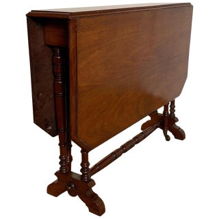 19th Century English Mahogany Drop-Leaf Tuck Away Table For Sale