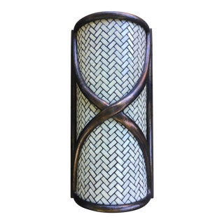 1980s Art Deco Hilliard Lamps Tiled Ribbon Bronze & Glass Sconce For Sale