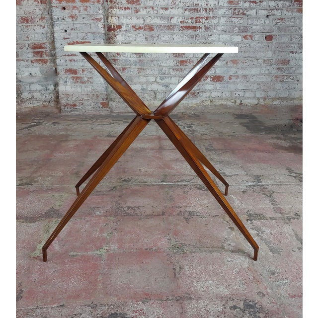 1960s Mid Century Modern Geometric Side Table With Goatskin Top For Sale - Image 5 of 10