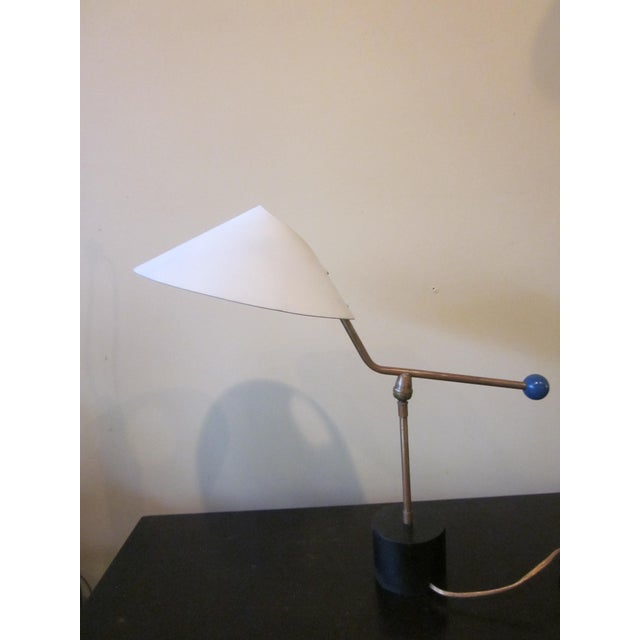 1950s Angular French Modernist Counterweight White UFO Shade Desk Lamp For Sale - Image 4 of 13