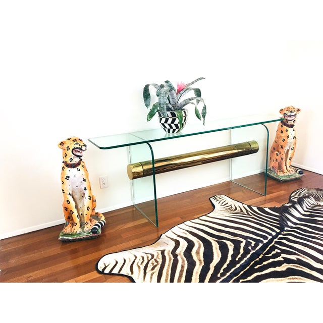 Metal 1970s Ultra Modern Glass & Brass Beam Console Sofa Table For Sale - Image 7 of 11