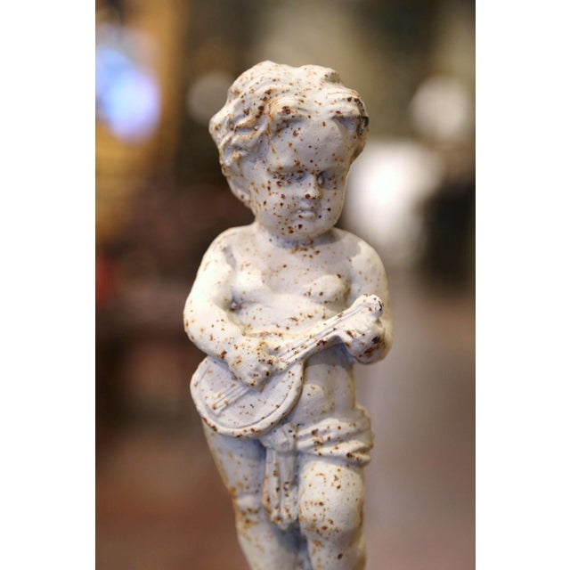 19th Century French Painted Cast Iron Musical Angelic Cherubs, Set of 4 For Sale In Dallas - Image 6 of 13