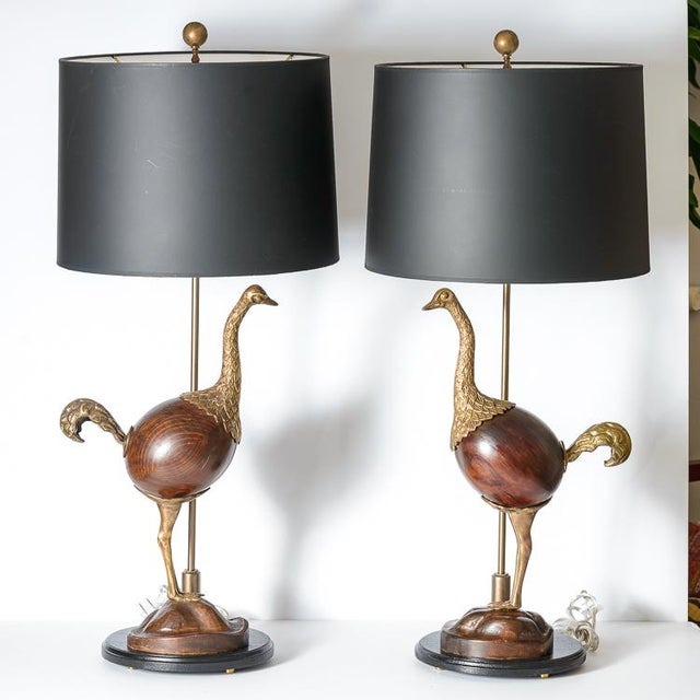 Metal Hollywood Regency Rare Bronze & Wood Ostrich Table Lamps, A-Pair For Sale - Image 7 of 13