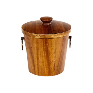 1960s Wood Covered Ice Bucket For Sale