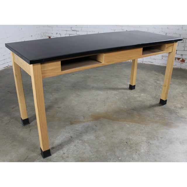 Industrial Laboratory Table, Oak With Black Epoxy For Sale - Image 4 of 12
