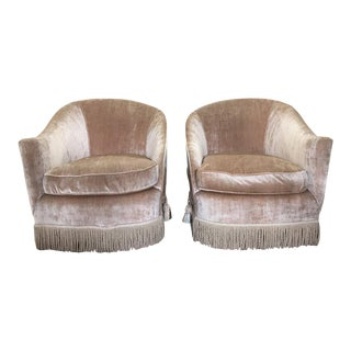 1930s Vintage Art Deco Pink Velvet Club Chairs-A Pair For Sale