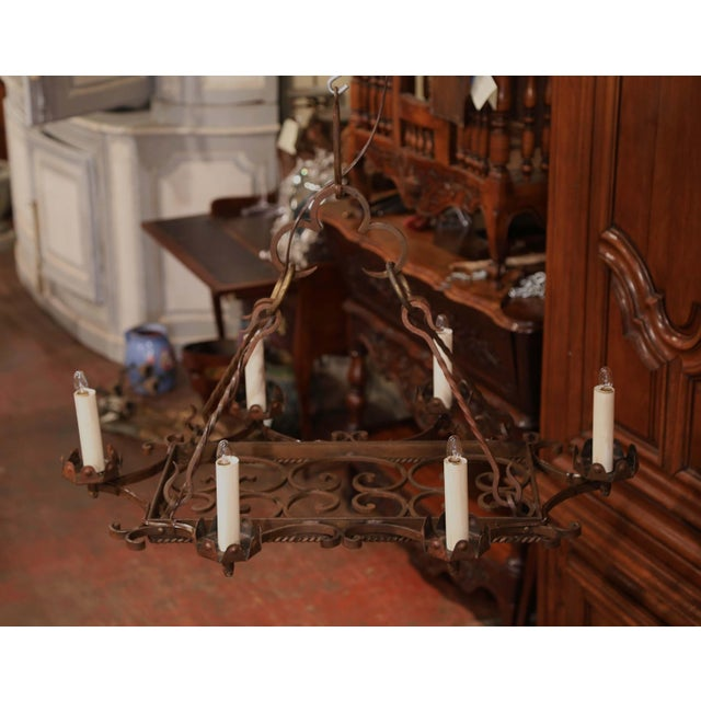 Early 20th Century French Iron Six-Light Flat Bottom Island Chandelier For Sale - Image 4 of 10