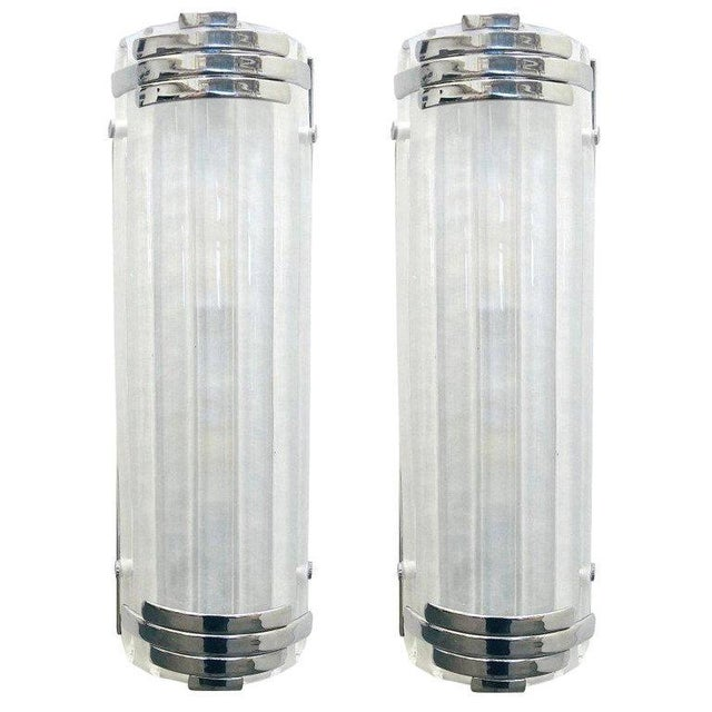 Chrome Marlene Frosted Murano Glass Chrome Sconces / Flush Mounts by Fabio Ltd - a Pair For Sale - Image 8 of 8