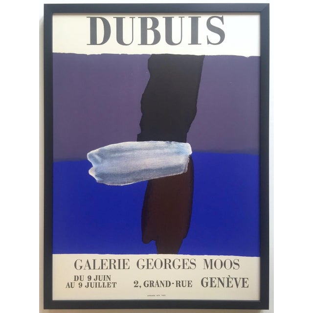 Fernand Dubuis Rare Vintage 1966 Mid Century Modern French Silkscreen Print Framed Abstract Expressionist Exhibition Poster For Sale - Image 13 of 13