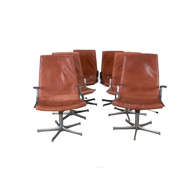 Armchairs in Chrome and Cognac Leather by Walter Knoll- Set of 6 For Sale - Image 10 of 10