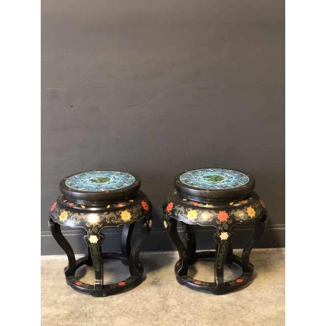 1920's Chinese Round Black Lacquered Side Tables With Blue Cloisonné Tops For Sale - Image 9 of 10