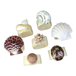 Vintage Capiz Seashell Napkin Rings -Set of 7 For Sale