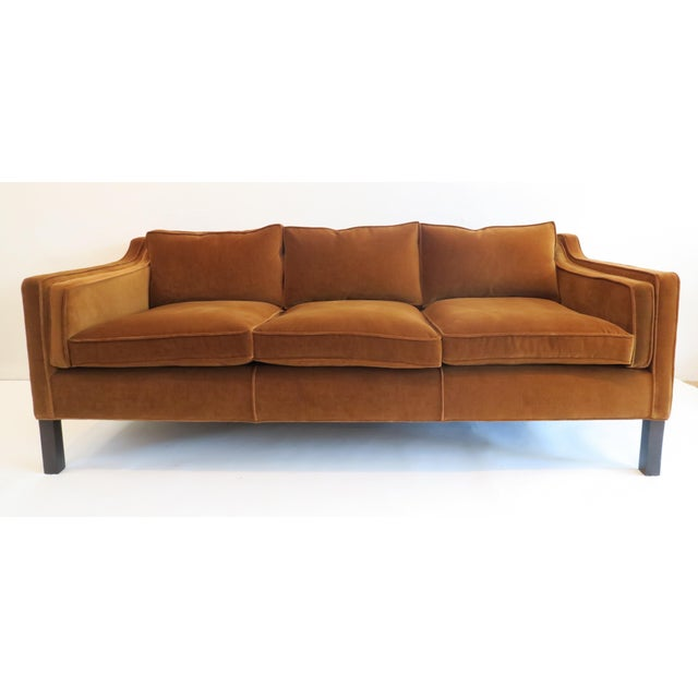 Custom made modern thin arm sofa. Upholstered in Robert Allen Contentment Havana fabric. Three loose seat with medium...