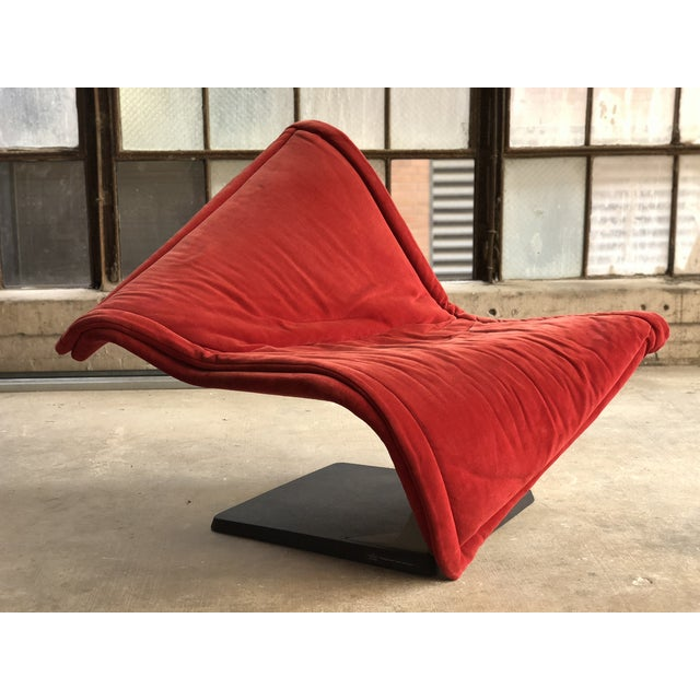 Flying Carpet Chair by Simon De Santa - Abstract Contemporary Modern Red Suede Velvet Chair For Sale - Image 11 of 11
