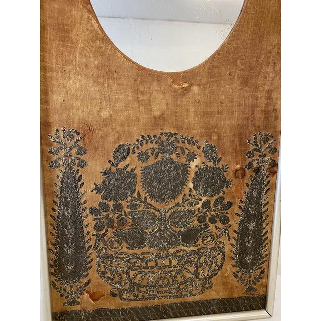 Boho Chic Early 20th Century Antique Mirror on Fabric For Sale - Image 3 of 7