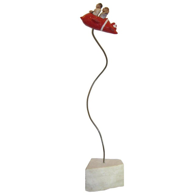 "Red Contemporary Italian ""Flying Guys in Airplane"" Red White Sculpture by Ginestroni For Sale - Image 8 of 8"