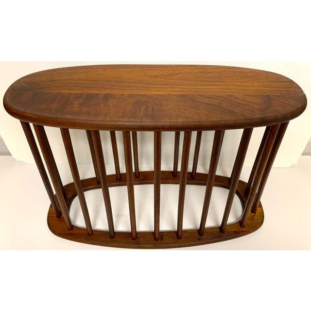 Mid-Century Modern Danish Modern Oval Spindle Teak Magazine Rack For Sale - Image 3 of 8