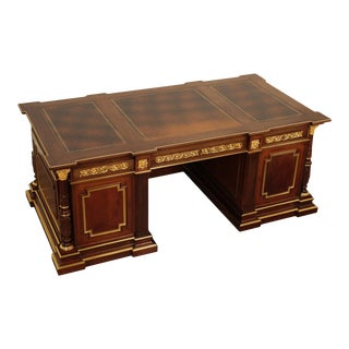 Quality Italian Neoclassical Style Mahogany Leather Top Executive Desk For Sale