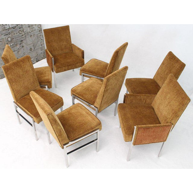 Set of eight Mid-Century Modern chrome dining chairs attributed to Milo Baughman. New amber to red tiger pattern velvet...