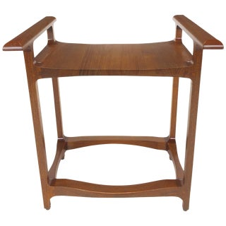 Studio Crafted Teak Wood Bench Seat, Signed and Dated For Sale