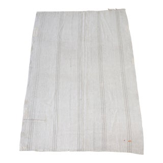 Vintage Hemp Turkish Rug in Oyster White With Light Taupe Stripes For Sale