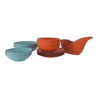 Rayalon Melamac Orange & Baby Blue Dinnerware Set - 18 Pieces