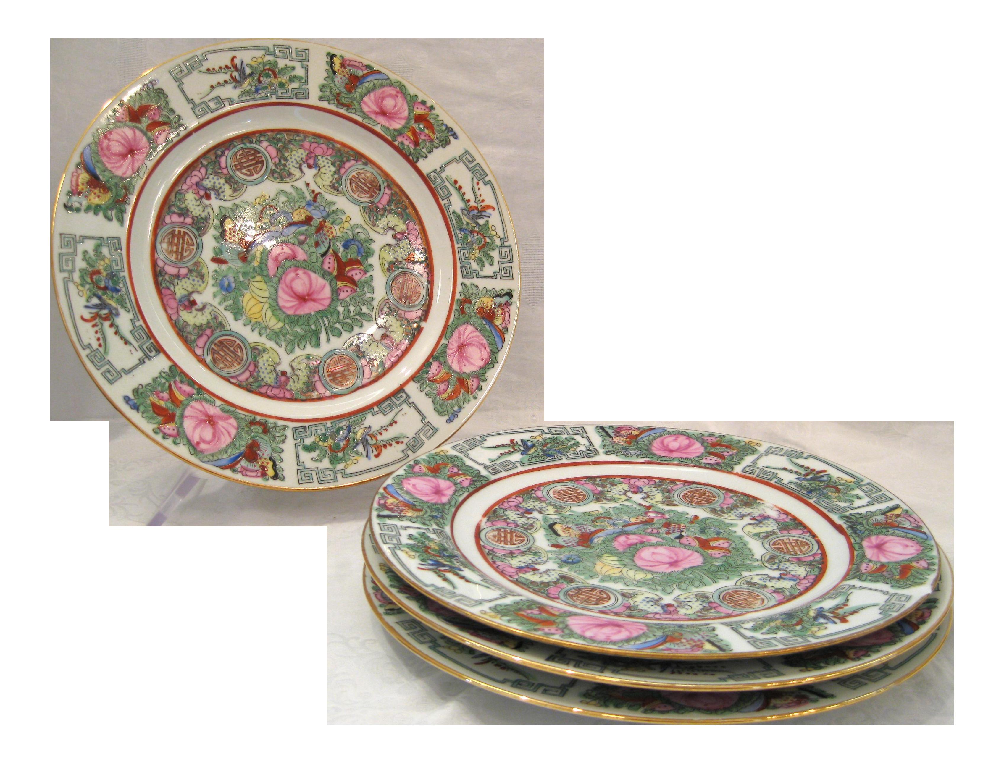 Vintage Rose Canton Porcelain Plates - Set of 4  sc 1 st  Chairish & Vintage Rose Canton Porcelain Plates - Set of 4 | Chairish