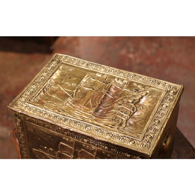 French 19th Century French Repousse Brass and Wood Box With Sailboat Decor For Sale - Image 3 of 10