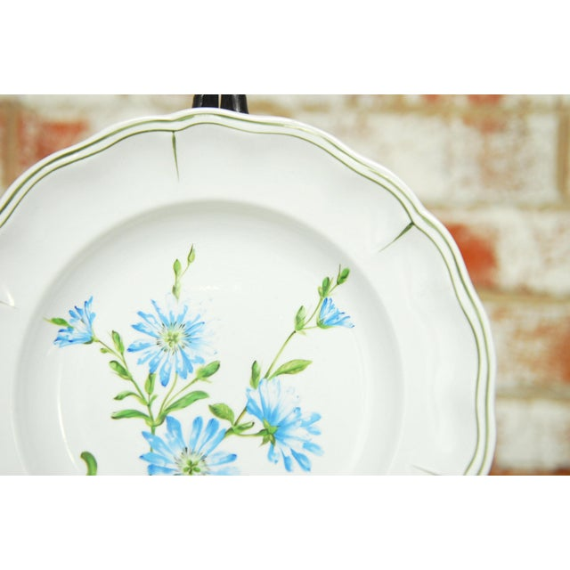 """White Set of 66 French Luneville Hand-Painted Floral Dining Plates """"Rovina Epinal"""" For Sale - Image 8 of 11"""