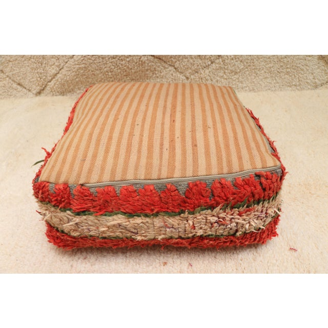 Raspberry Red Moroccan Vintage Unstuffed Pouf For Sale - Image 8 of 12