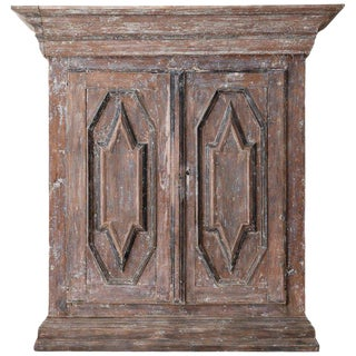 18th Century Swedish Baroque Period Rustic Carved and Painted Armoire Cabinet For Sale