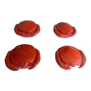 Vintage Peasant Village Red Majolica Crab Bowls - Set of 4 For Sale