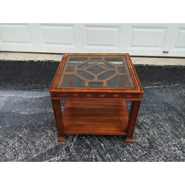 Chinese Chippendale Wood Fretwork Side Table - Image 4 of 7