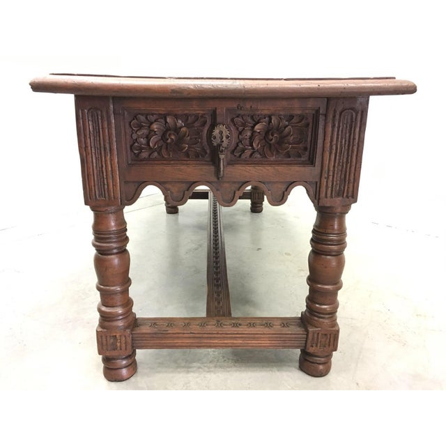 Walnut 17th Century Spanish Baroque Carved Walnut, Refectory Console Table For Sale - Image 7 of 10