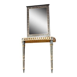 Italian Palladio Parcel Paint and Gilt Demilune Console and Mirror For Sale