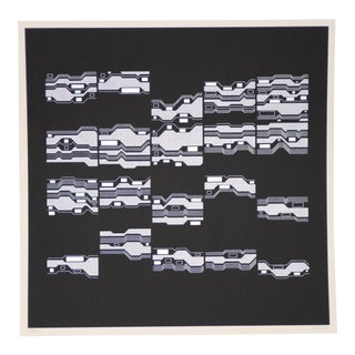 "1970s Abstract Silkscreen Print ""Cluster Phobia"" by Manfred Mohr For Sale"