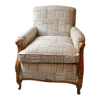 Mid-20th Century Traditional Beige Upholstered Carved Wood Accented Club Chair