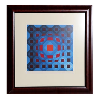 Red and Blue Geometric by Victor Vasarely For Sale