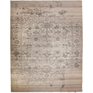 """Erased Hand-Knotted Luxury Rug - 7'10"""" X 9'10"""" For Sale"""