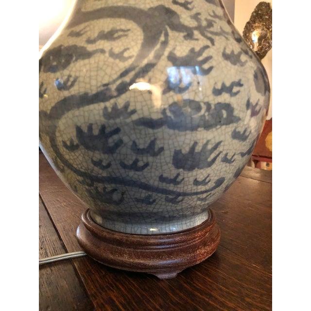 Blue Antique Chinese Hu Form Blue & White Smooth Glaze Ko Ware Vase Lamp For Sale - Image 8 of 12