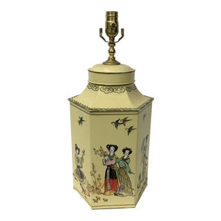 English Export Hexagon Chinoiserie Tea Canister Lamp For Sale