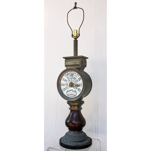 Mahogany and Brass Ships Telegraph Mounted Lamp For Sale - Image 4 of 6